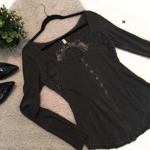 Free People Gray Keepsake Cut Out Lace Henley